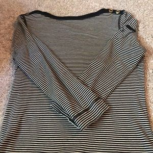 3 quarter tee black and white stripe